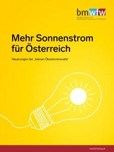 Cover der Broschüre Mehr Sonnenstrom für Österreich